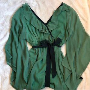 YA Los Angeles Green Silk Gown
